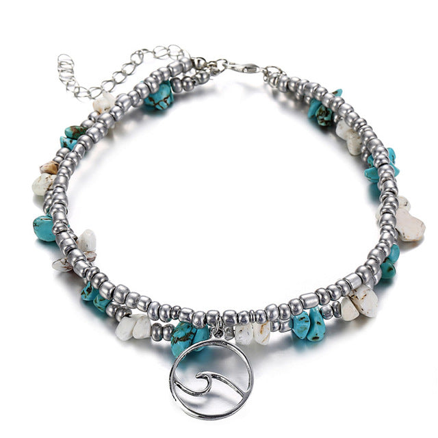 Multi Layer Bead & Stone with Wave Anklet