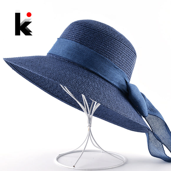 Summer Wide Brim Hat with Tail Bow-Knot