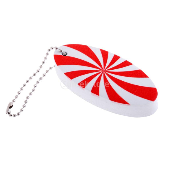 Red & White Striped Floating Keychain