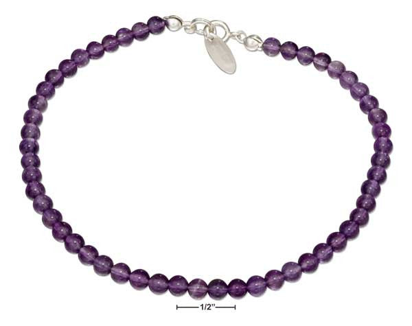 "Sterling Silver 9"" Beaded Amethyst Anklet"