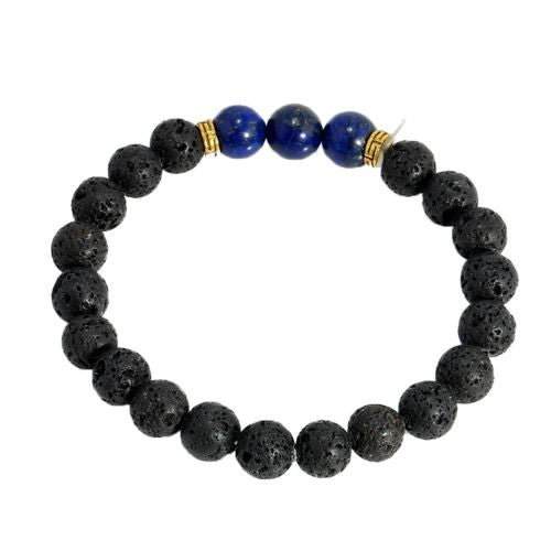 Elastic Beaded Natural Lava Stone Bracelet