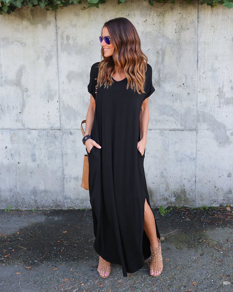 Long Loose Hanging Vacation Dress