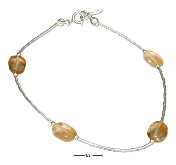 "Sterling Silver 9"" Liquid Silver and Citrine Anklet"