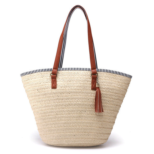 Straw Shoulder Tote Bag with simple tassel