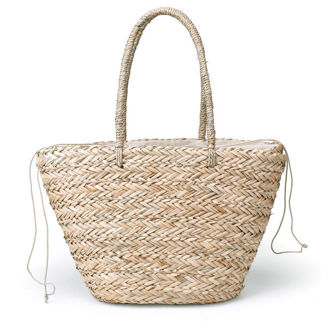 Grass Drawstring Straw Woven Tote Bag