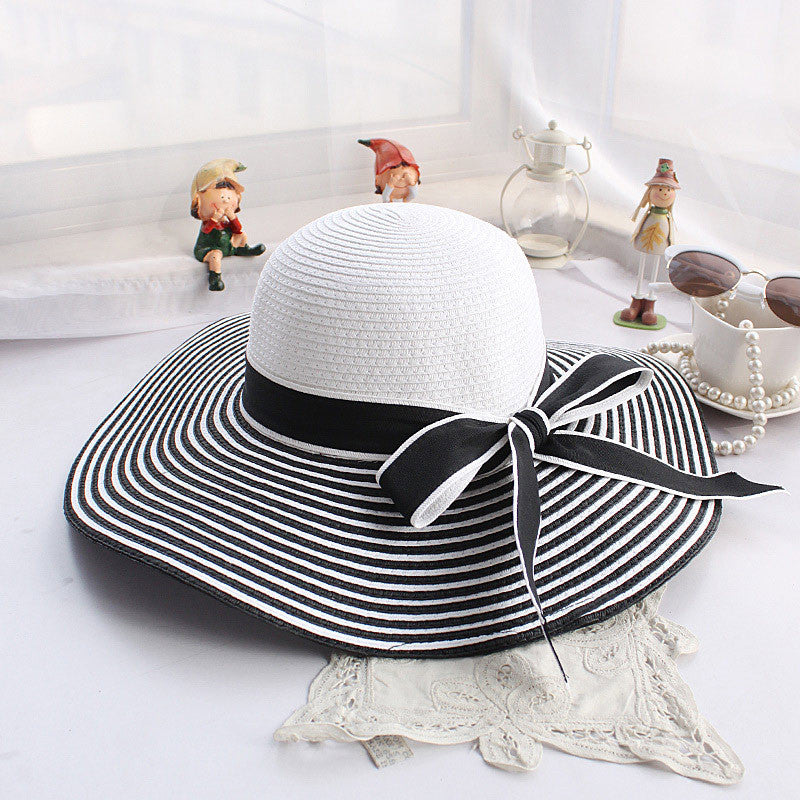 Fashion Sun Hat with Wide Brim, Stripes & Bow