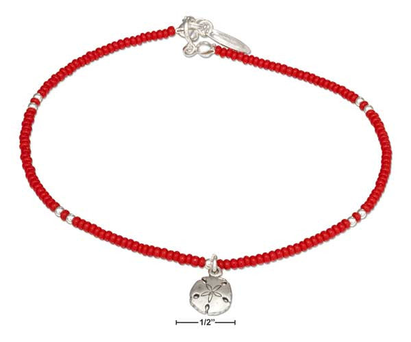 "Sterling Silver 9"" Red and Silver Beaded Anklet with Sand Dollar Dangle"