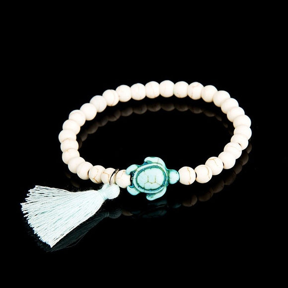 Lucky Beaded Bracelet with Turtle Rope Tassel Charm