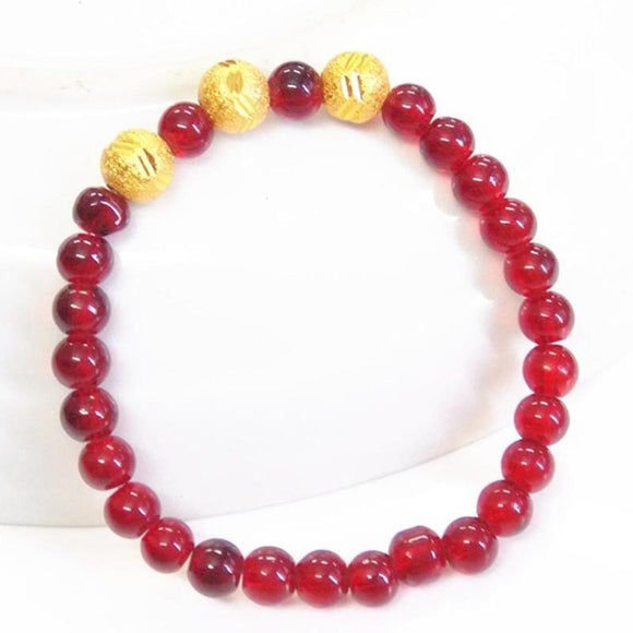 New Glass Yellow & Red Beaded Bracelet