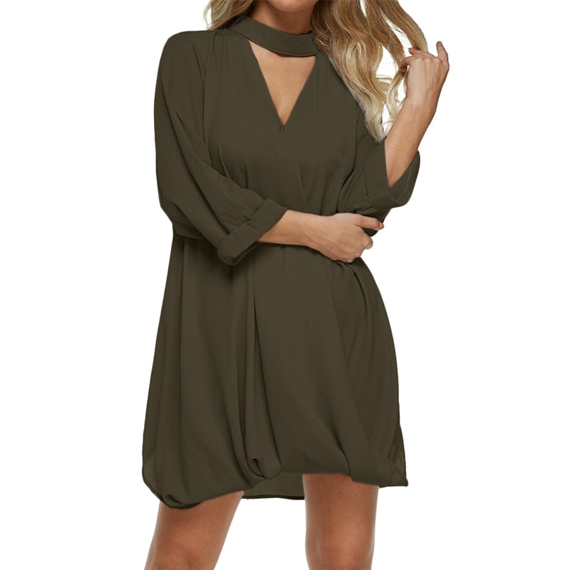Sexy Loose Deep V Neck Pleated Mini Dress