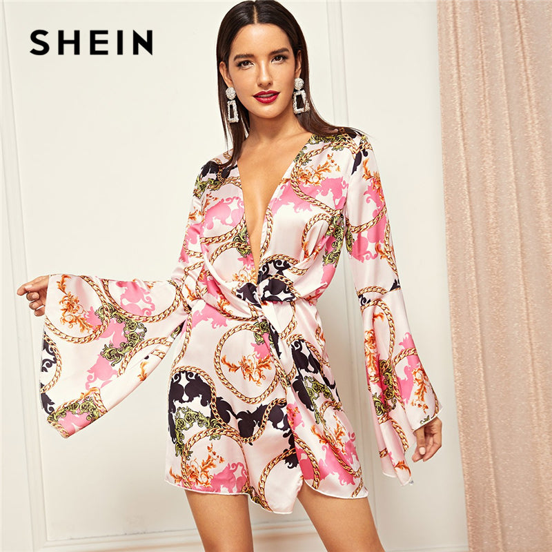 Multicolor Mixed Print Bell Sleeve V Neck Dress