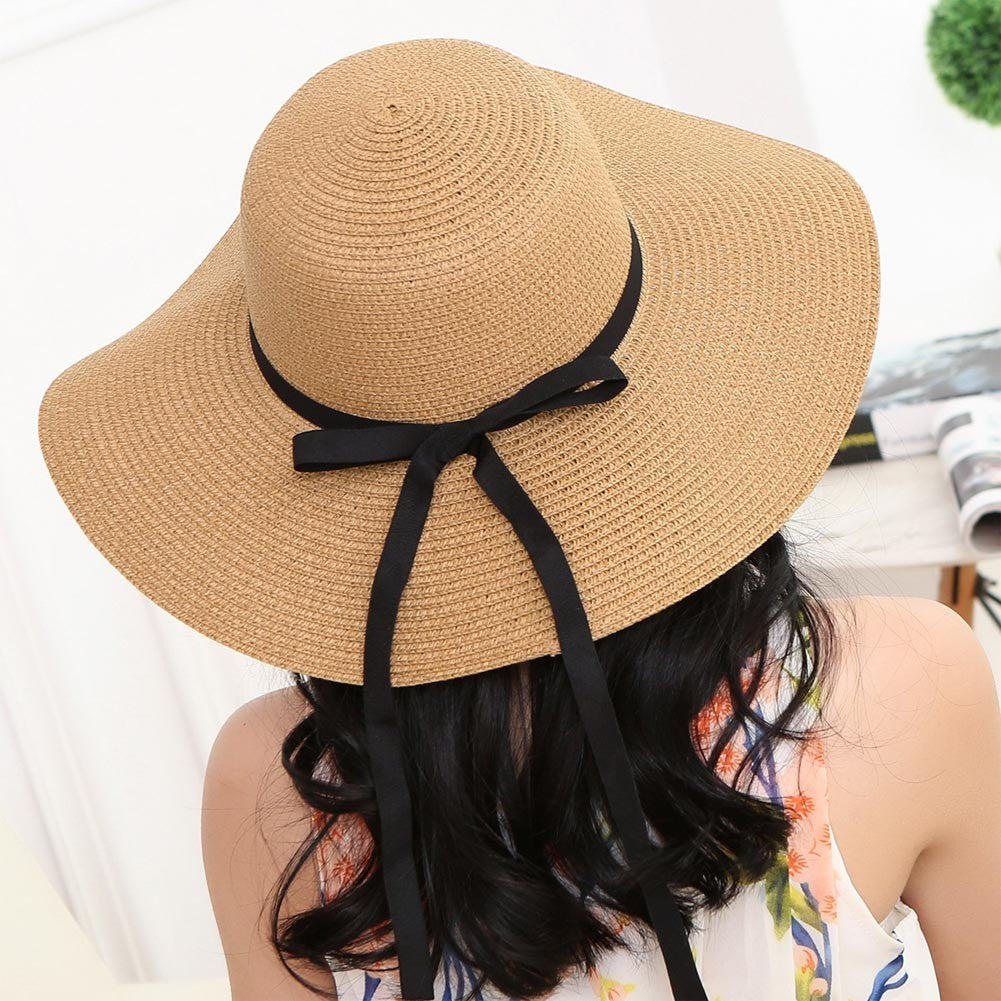 Elegant Straw Sun Hat with Bowknot and Foldable Brim