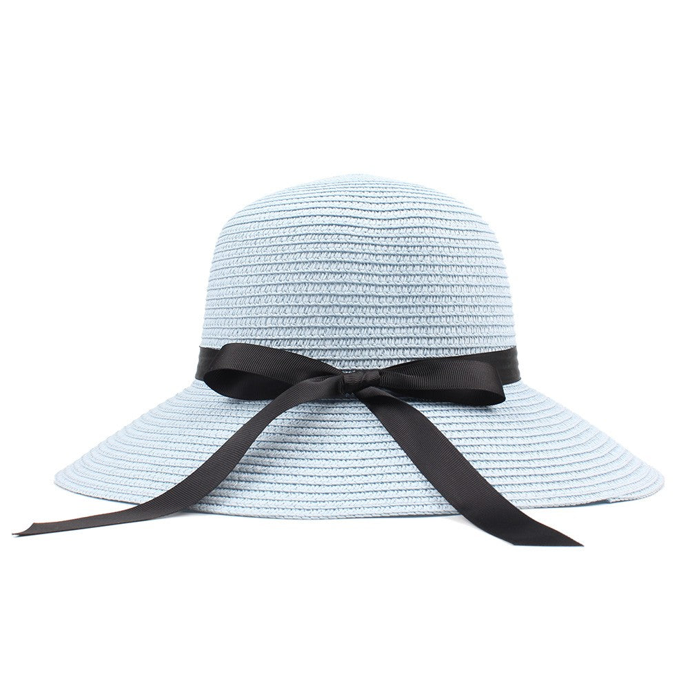 Ribbon Bow Wide Brim Sun Hat