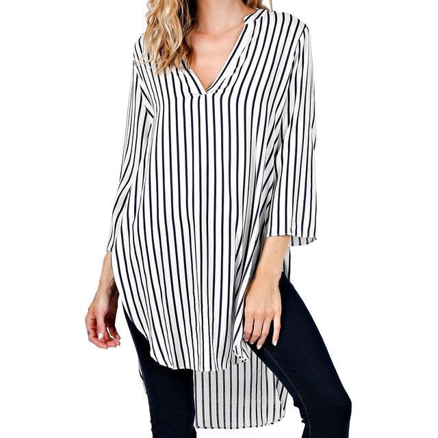 Sexy Fashion Stripe V-Neck Blouse