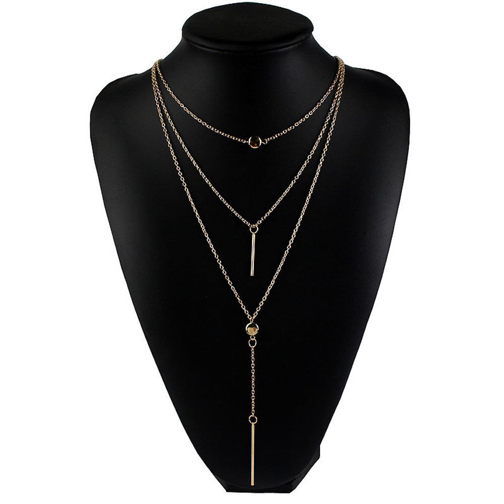 Three Layer Necklace Choker with Pendant