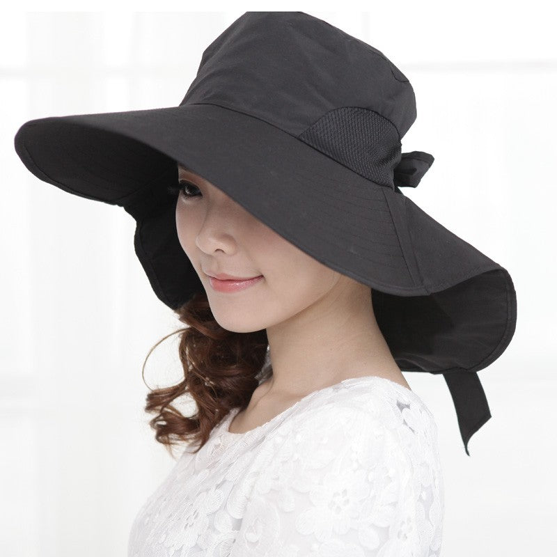 Foldable Sun Hat with Wide Brim & Bow