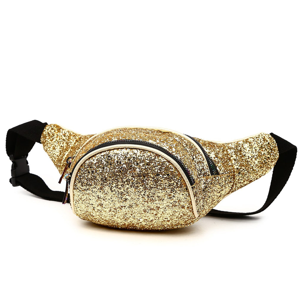 Gold Glitter Fanny Pack Color-Gold