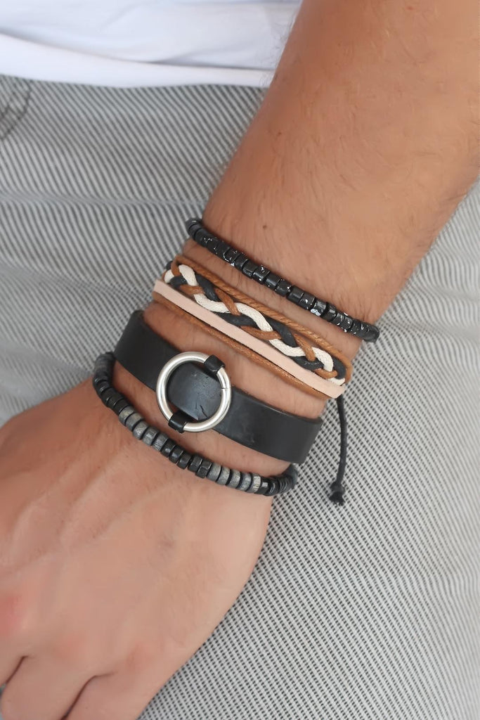 Men's Leather Bracelet Set