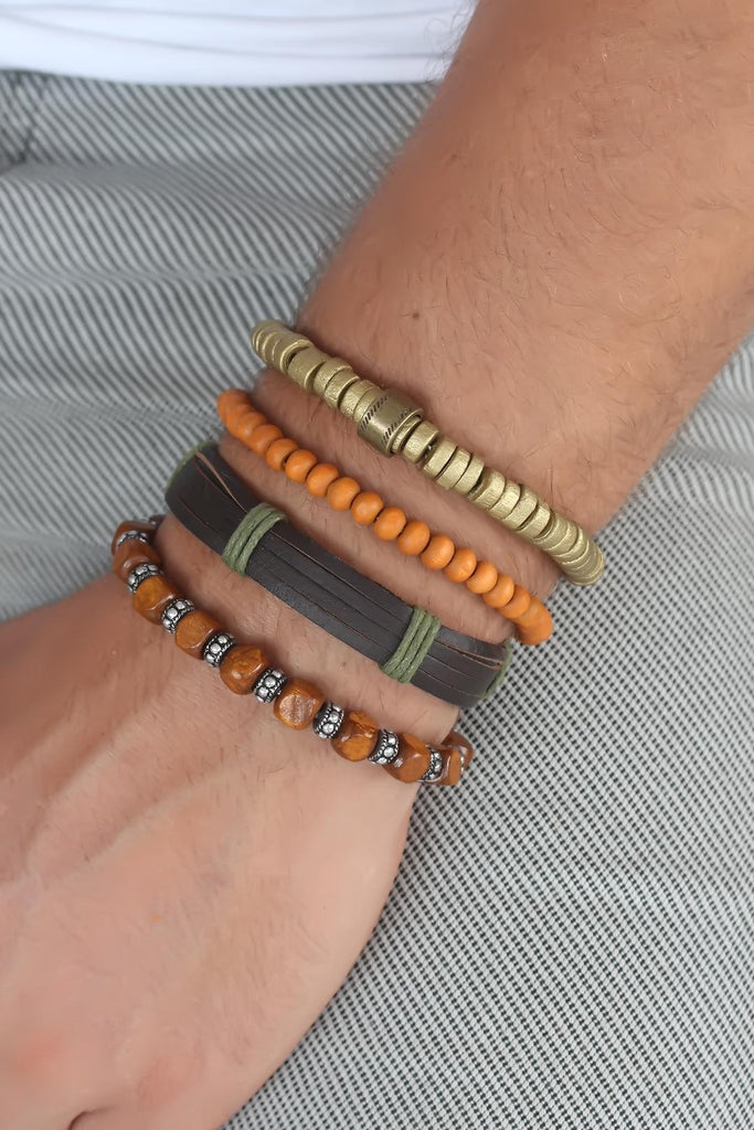 Men's Leather Multi Bracelet Set