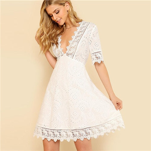 White Lace Trim Eyelet Embroidered Dress