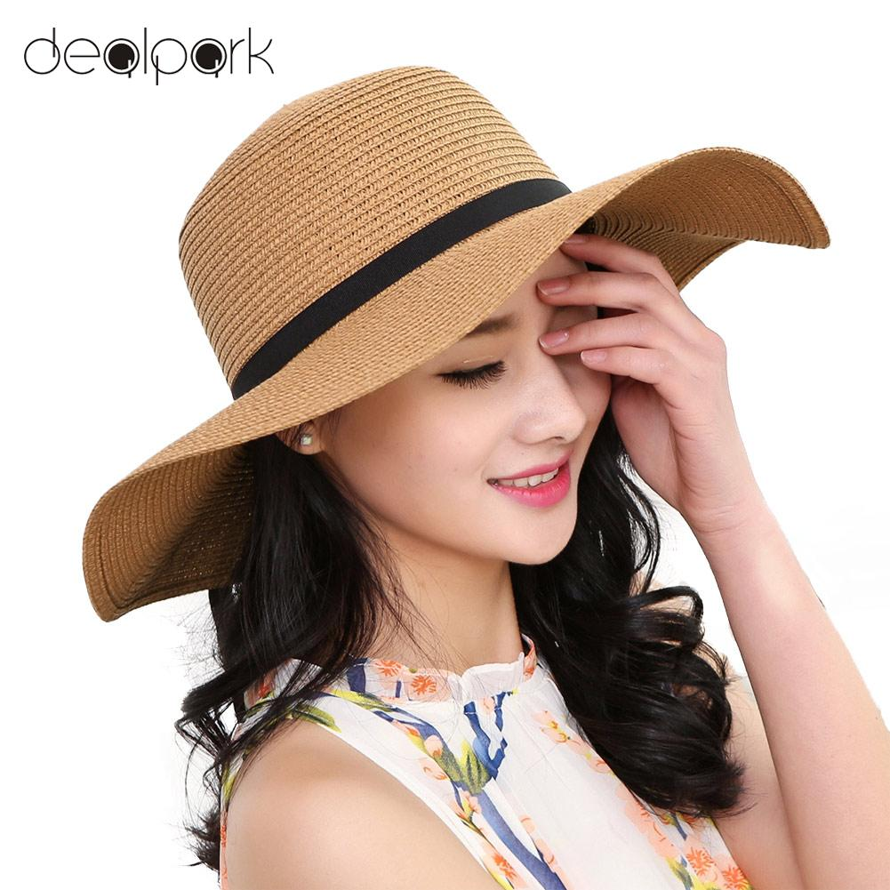 Elegant Straw Sun Hat with Large Brim and Bowknot
