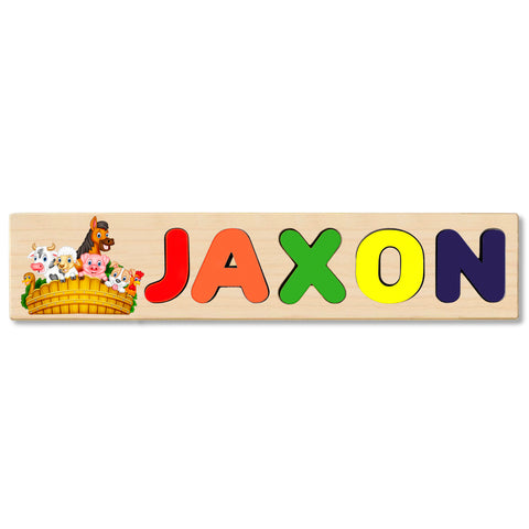 Wooden Name Puzzle Personalized Puzzle Choose Up to 12 Letters. Animal Group Theme