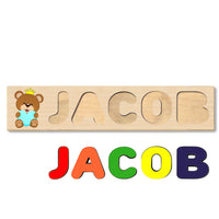 Wooden Name Puzzle Personalized Puzzle Choose Up to 12 Letters. Bear With Crown And Heart Theme