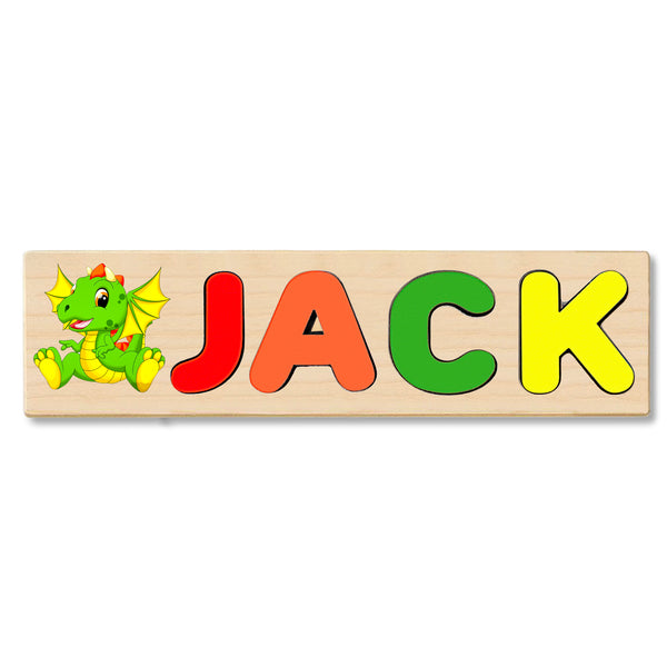 Wooden Name Puzzle Personalized Puzzle Choose Up to 12 Letters. Baby Green Dinosaur Theme