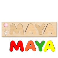 Wooden Name Puzzle Personalized Puzzle Choose Up to 12 Letters. Rabbit With Balloon Theme