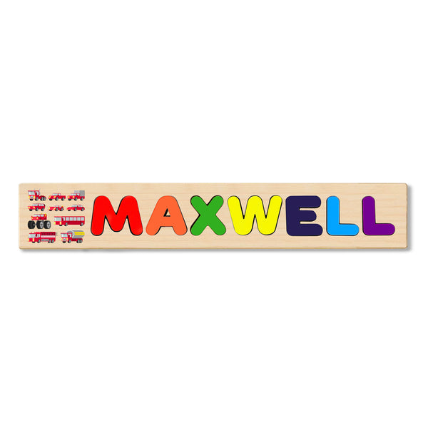 Wooden Name Puzzle Personalized Puzzle Choose Up to 12 Letters. Fire Brigade Truck Theme