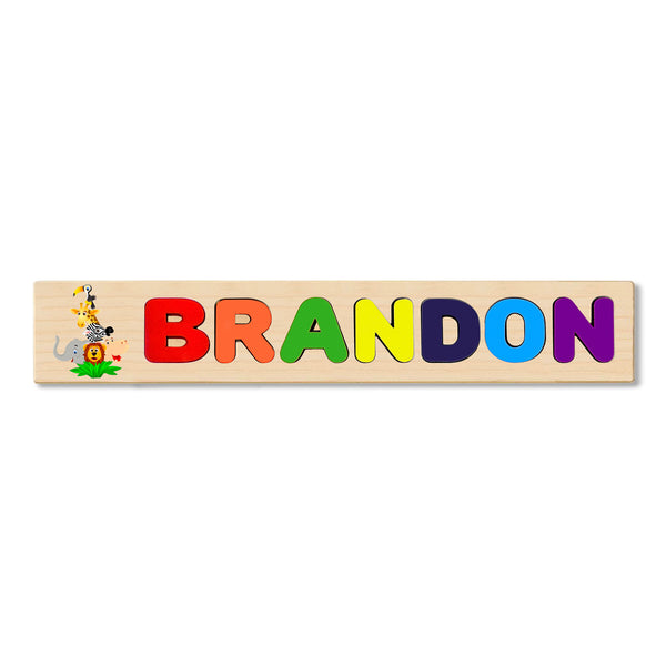Wooden Name Puzzle Personalized Puzzle Choose Up to 12 Letters. Cute Animals Theme