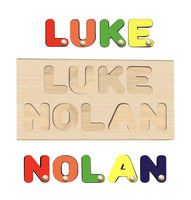 Wooden Name Puzzles FIRST & LAST or 2 NAMES - Handmade Peg Letters