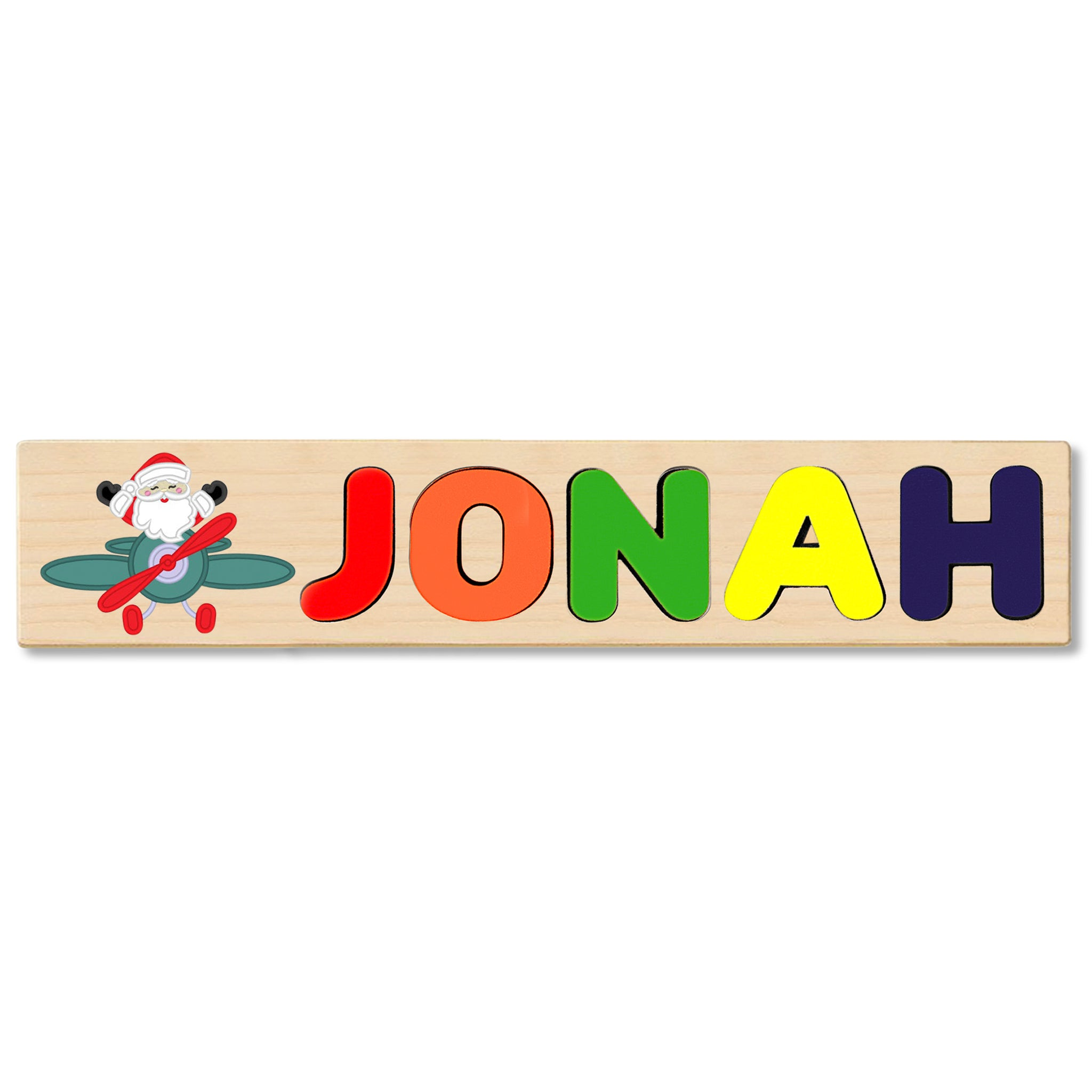 Wooden Name Puzzle Personalized Puzzle Choose Up to 12 Letters. Santa Claus Flying With Christmas Plane Theme