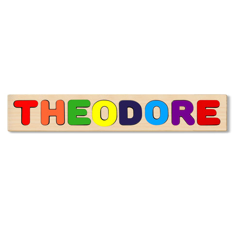 Wooden Personalized Name Puzzle - Any Name Or First & Last Name Choose up to 12 Letters No Extra Cost - THEODORE