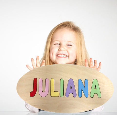Wooden Oval Bright Pastel Colors Shape Personalized Name Puzzle - Choose up to 12 Letters - Play & Learn