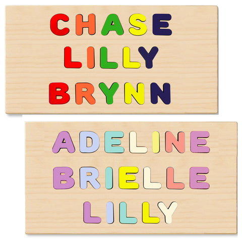 3 Name Puzzle FIRST & LAST or 3 names on Single Board - 100% Personalized Custom Made in USA