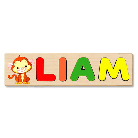 Wooden Name Puzzle Personalized Puzzle Choose Up to 12 Letters. Baby Monkey Theme