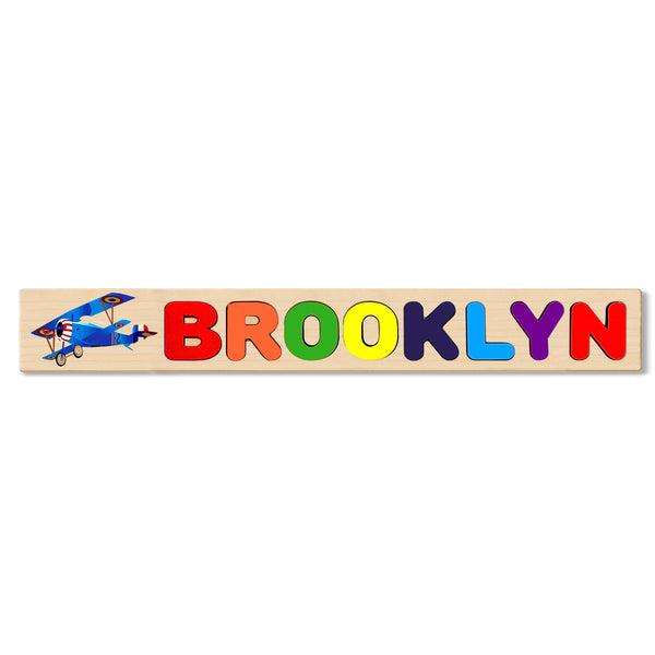 Wooden Name Puzzle Personalized Puzzle Choose Up to 12 Letters. Blue Biplane Theme