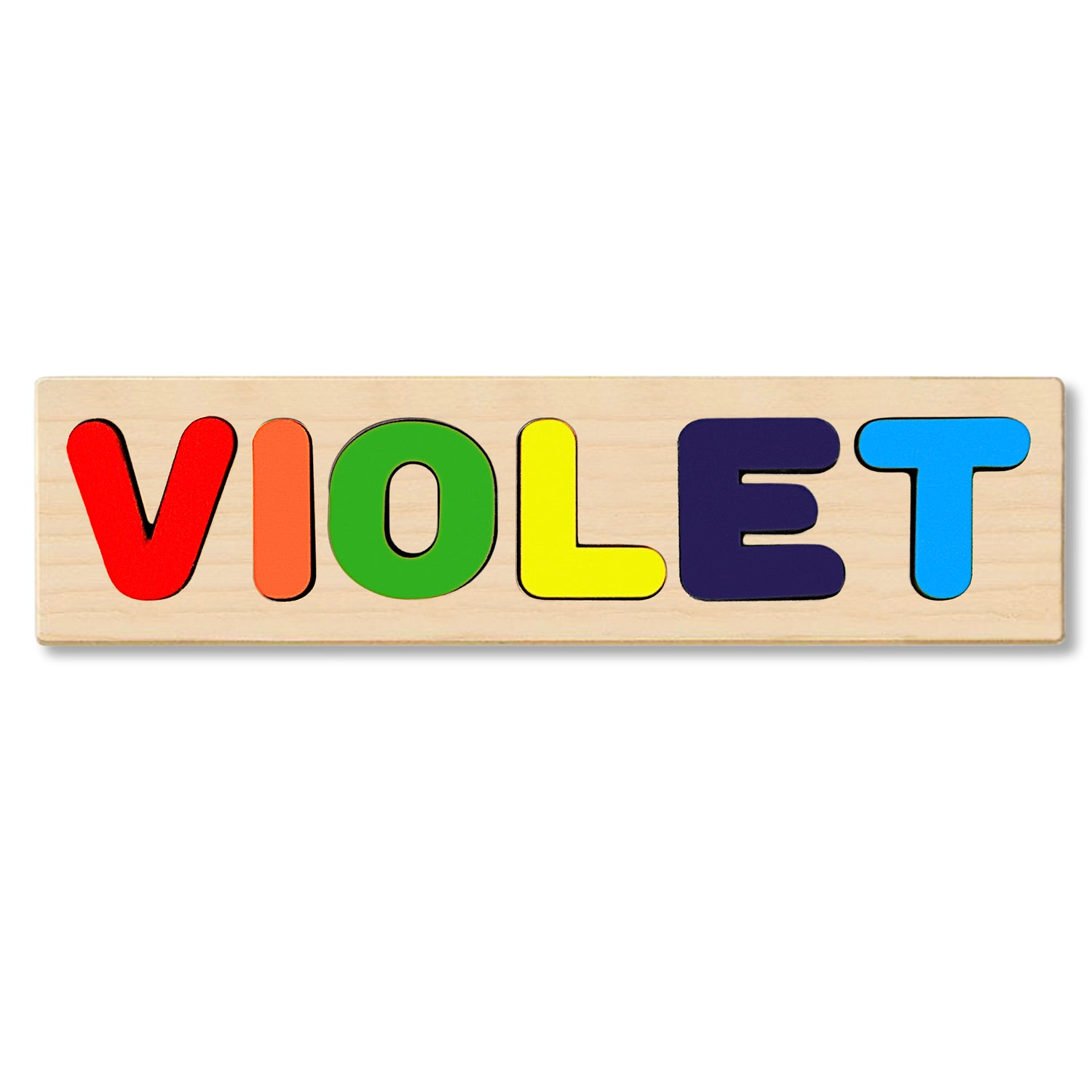 Wooden Personalized Name Puzzle - Any Name Or First & Last Name Choose up to 12 Letters No Extra Cost - VIOLET