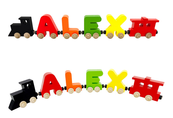 4 Letter Train Wooden Perosnalized Name Letters Includes Train & Wagon Letters Puzzle Includes Train & Wagon Free