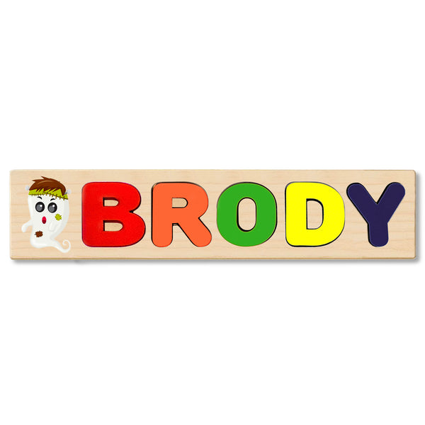 Wooden Name Puzzle Personalized Puzzle Choose Up to 12 Letters. Smokey Ghost Cartoon Theme