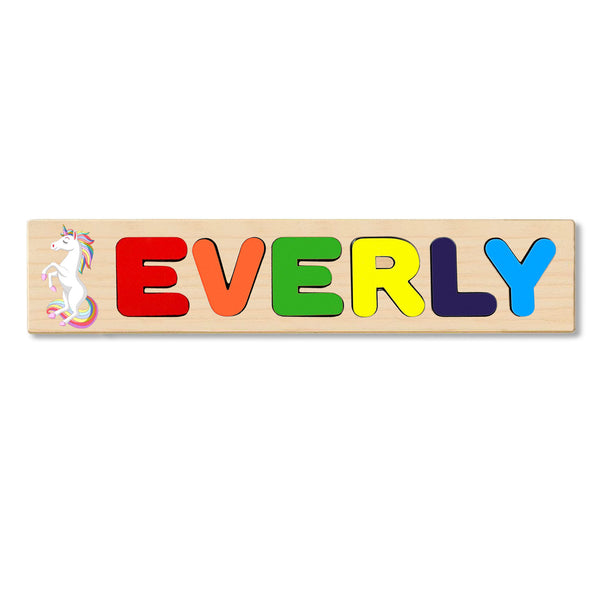 Wooden Name Puzzle Personalized Puzzle Choose Up to 12 Letters. White Unicorn Standing Theme