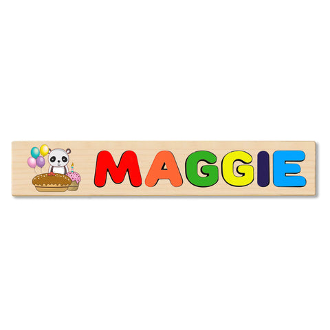 Wooden Name Puzzle Personalized Puzzle Choose Up to 12 Letters. Baby Panda With Cake Theme