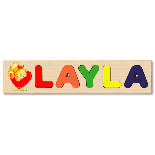 Wooden Name Puzzle Personalized Puzzle Choose Up to 12 Letters. Teaddy Bear With Big Heart Theme
