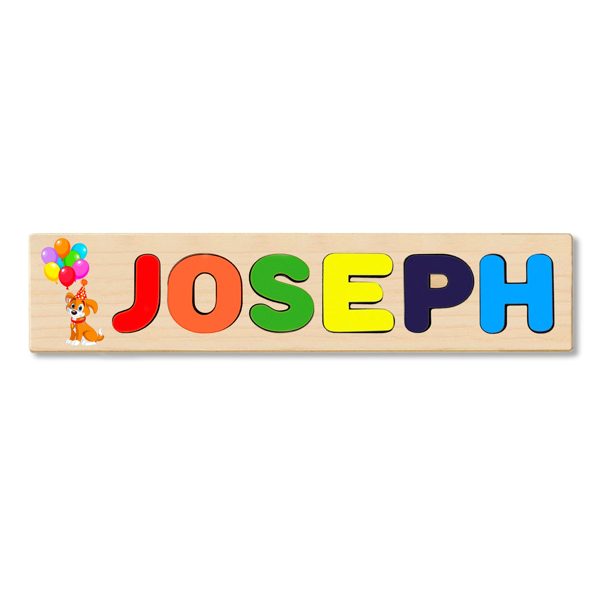 Wooden Name Puzzle Personalized Puzzle Choose Up to 12 Letters. Cute Dog With Balloon Theme