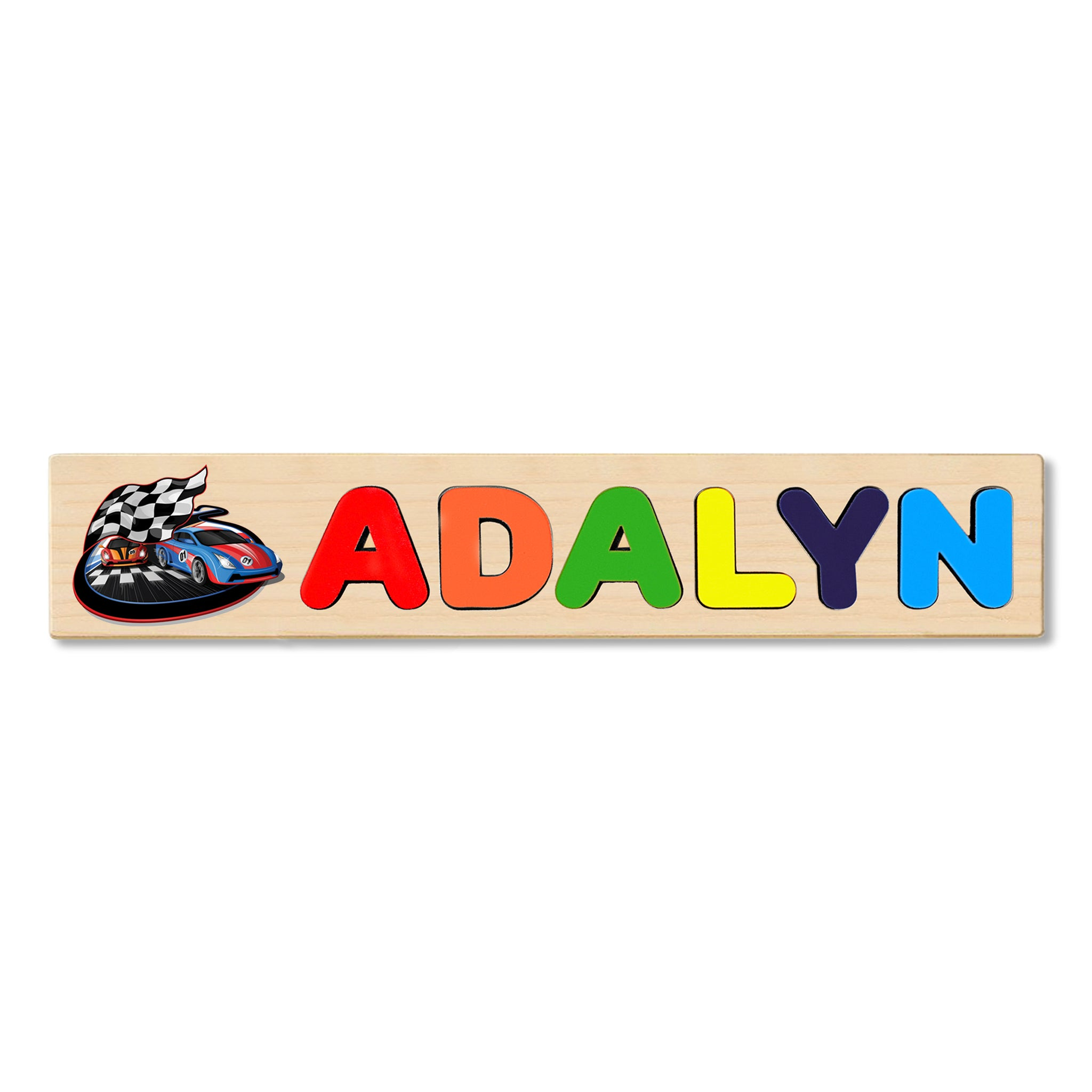 Wooden Name Puzzle Personalized Puzzle Choose Up to 12 Letters. Racing Cars With Flag Theme