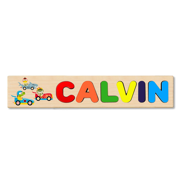 Wooden Name Puzzle Personalized Puzzle Choose Up to 12 Letters. Racing Cars Theme