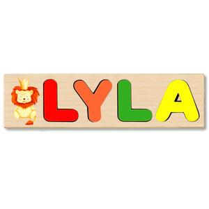 Wooden Name Puzzle Personalized Puzzle Choose Upto 12 Letters. Baby Lion With Crown Theme