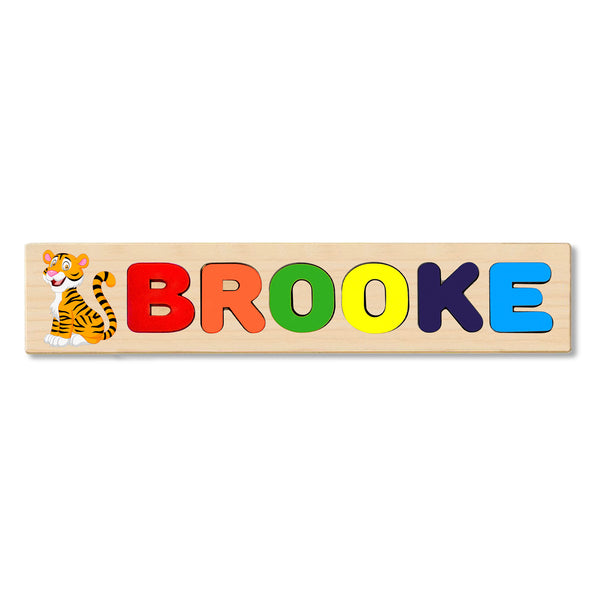 Wooden Name Puzzle Personalized Puzzle Choose Up to 12 Letters. Cute Baby Tiger Theme