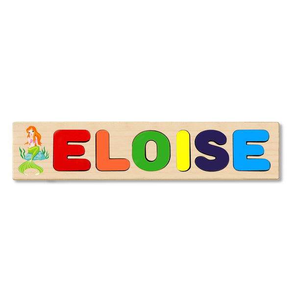 Wooden Name Puzzle Personalized Puzzle Choose Up to 12 Letters. Mermaid Girl Cartoon Theme
